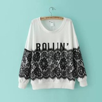 Free shipping  new autumn winter 2014 women's lace patchwork O neck letters print color block sweatshirt