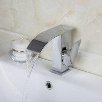 Waterfall Chrome Bathroom Faucet Single Hole Deck Mounted Bathroom Sink Tap Swivel Basin Mixer Faucet 92269A