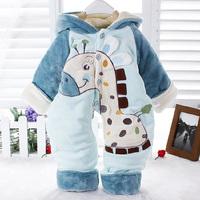 2014 Winter New Arrival Newborn Baby Romper For Winter Velvet Jumpsuit Hooded Cartoon Small Animal Infant Romper Hot Sale 0-2T