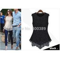 Fashion 2014 Women's Sexy Peplum Lace Shirt Trendy Sleeveless Blouse Black/ White S M L XL XXL Free Shipping