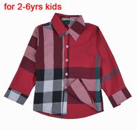 Infantil Shirt For Boys Clothes Plaid Cotton Childrens Shirt Long Sleeve Top Autumn Wear Brand Big Plaid Fashion Style 872