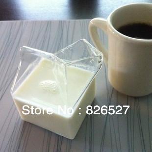 Hot Sale Milk box glass cup Half pint Creamer milk mug transparent(China (Mainland))