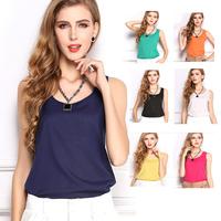 Cheap 2014 New Casual Women Chiffon Blouse Sleeveless Candy Colors Tops Shirt Women Blouses Blusas Camisas Femininas