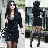 Women Black Hooded Long Sleeve Slim Zipper Sexy Sweatshirt Office Top Mini Dress