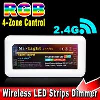 10pcs Mi light 4-zone Control Box RF 2.4G 30M Distance Wifi Wireless Touch Screen LED RGB Strip Lamp Bulb Remote Controller