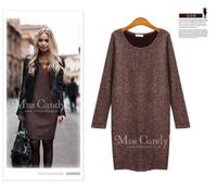 Free shipping 2014 autumn women casual dress plus size long sleeve knitting dresses l1383