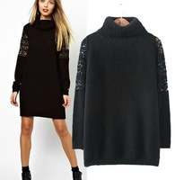 Europe and the United States autumn new fashion women's shoulders turtleneck sweater blouse lace dress