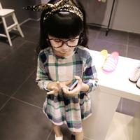 Children Kids Girls One Piece Dress Bow Plaids Checks Tunic Dress Clothing Free&DropShipping