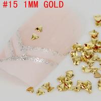 New! Triangle shape 3D 500pcs metal nail art decoration free shipping Gold/Silver Nail Art Tips Metallic Studs sticker
