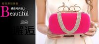 Women's Hot Snakeheads Ring Velvet Clutch  U-shaped Rhinestone Evening Bag Bride Bridesmaid Bag 3009 Free Shipping