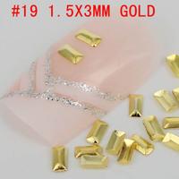 New! rectangular shape 1.5x3mm 3D 500pcs metal nail art decoration free shipping Gold/Silver Nail Art Metallic Studs sticker