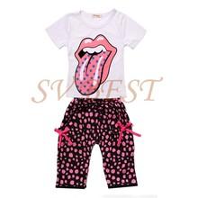 Varejo 2014 New verão T-Shirt + short 100% algodão roupa dos miúdos define conjunto de roupas meninas grátis frete #12 SV006639(China (Mainland))