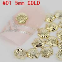 2014 New! shell shape 3D metal nail art decoration free shipping Gold/Silver Metal Nail Art Decor Tips Metallic Studs sticker