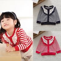 Baby Toddler Girls Stripes Cardigan Lace Collar Knitwear Stripes Coat Jacket Free&DropShipping