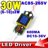 5pcs 600MA 15V-36V Output for 6-10 x 3W Led Driver 18W 21W 24W 27W 30w Power Supply Lighting Transformer AC 85V-265V (110V 220V)