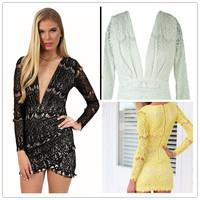 Vintage 2014 New Fashion Elegant Long Sleeve Lace Evening Party Dresses Sexy V neck Short Celebrity Women Casual Dress
