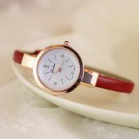 New Fashion Brand Women Genuine Leather Strap  Vintage Watches Bracelet Lady Quartz Wristwatches 9865