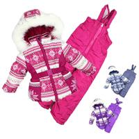 2-6Y -25 to -30 degree Russian winter ski kids clothing sets New 2014 windproof warm 3pcs sets (waterproof coat+vest+pants)