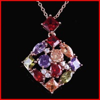 New Colorful AAA Swiss Bridal Cubic Zirconia Necklace CZ Necklace For Women - SKBTQ