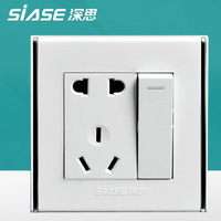 Siase PC panel wall switch wall socket high quality light switch wall outlet 1gang 5 holes socket 10A single control