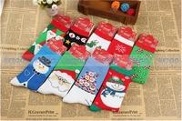 9pairs/lot  2014 new cotton adult socks Best Christmas gift Couple socks Cute elk  Snow Santa Claus socks Free shipping
