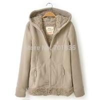 XS-XXXL new 2014 Womens winter Casual coat thicken Outerwear wool coat cashmere jacket women Hoodie sweatshirt