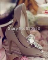 2014 Sexy Women Rhinestone Wedding Shoes Thigh High Heels Peep Toe Pumps Autumn High PlatformShoes sapatos femininos