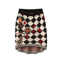Free shipping European style 2015 new fall fashion ladies poker geometry jacquard knit skirt