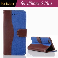For iPhone 6 Plus 5.5 inch Jeans Series Stand Leather Wallet Case with Credit Card Slots