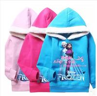 Free Shipping,Frozen Children Hoodies t shirt For Autumn ,New 2014 Thicking Fleece Girl's Top Shirts Hoodies Sweater Hoody Coat