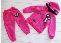 Sh036 Retail New Cat footprints Baby Clothing Set girl Tracksuits Children Sport Suits Infant Animal Costumes Autumn and winter