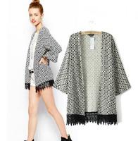 2014 autumn new European style female tassels swing Sleeve Printed lace cardigan jacket Bat shirt fashion kimono free shipping