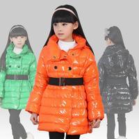 New 2014 Winter Girls Outerwear Fashion Bright Color Children's Down Jacket Hooded Warm Slim Girls Winter Coats Free Gift Belt