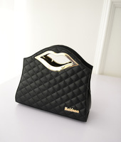 Free shipping 2014 new portable banquet metal lips hand bag woman shoulder bag Quilted sexy fashion handbag gold silver  bag
