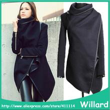 2014 Autumn Winter Woolen Coat Womens Overcoat Temperament Slim Trench Desigual femininos Wool & Blends Free Shipping S-XXL(China (Mainland))