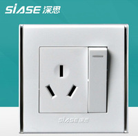 Siase PC panel wall switch wall socket high quality light switch wall outlet 1gang 3 holes socket 16A single control