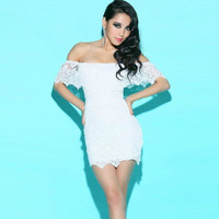 2014 new brand dress women sexy low-cut lace dress fitted dress nightclub plus size dresses white color 13127