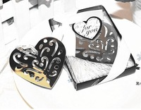 Creative stainless steel bookmarks European carving heart gift box wedding guests party favor grace CN post