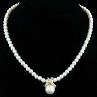 2014 Korean Fashion Full Imitation Pearls Cute Rhinestone Pendant Necklace Hot Sale Jewelry For Women Wholesale M13