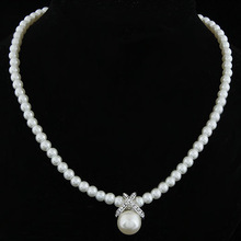 2014 Korean Fashion Full Imitation Pearls Cute Rhinestone Pendant Necklace Hot Sale Jewelry For Women Wholesale
