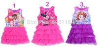 Wholesale (8pcs/lot) 2014 new Children/kids/baby girls summer dress/ sofia/minnie/Doc Mcstuffins vest dress/ organza dress(1-4Y