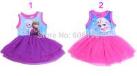 Wholesale (6pcs/lot) 2014 new Children/kids/girls fashion style summer dress/ frozen vest dress/ organza dress / tutu dress
