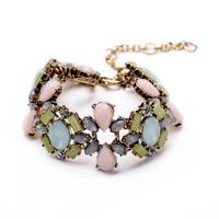 Min Order $15 (Can Mix Items) Vintage retro created crystal diamonds gemstone flower bracelet