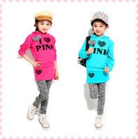 New 2014 Fashion Pink Girls Clothing Sets Leisure Girls Divided Skirts Suits Kids Tracksuits Autumn Sleeve+Pants+Dress 3pcs Set