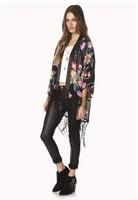 2014 new women European style flower fringed kimono kimono-style cardigan chiffon shirt bat shirt trendy jacket  free shipping