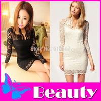 2014 New Autumn winter Women Sexy V-neck low-cut Long Sleeve Evening Party Lace Mini Bag Hip Dress Black/White #005 SV006976