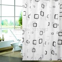 """Quadrado preto e branco banheiro à prova d ' água de banho tecido cortina de chuveiro 70.86 """"(China (Mainland))"""