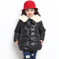 Kids  Winter coat Baby girls FUR COLLAR coat cartoon warm jackets winter 100%cotton-padded Parkas kids coat thick outerwear