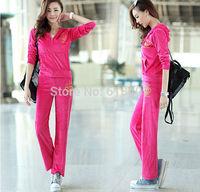 2014 new autumn women's velvet sports suit casual embroidery sweatshirts hoody sportswear set cardigan Plus size