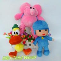 Free Shipping 3pcs/lot New 2014 POCOYO Plush Toys Cartoon Stuffed Dolls Anime Pocoyo Toys Hobbies Elly Pato POCOYO Toys Gifts
